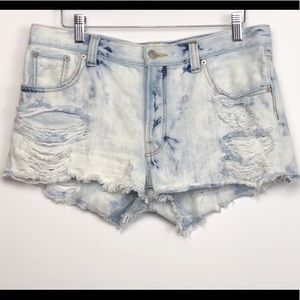 Talula for Aritzia Distressed Denim Cut-Off Shorts